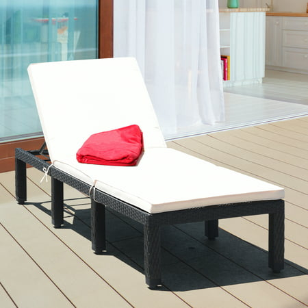 Costway Patio Rattan Lounge Chair Chaise Couch Cushioned Height Adjustable Pool Garden - image 5 of 9