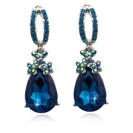 - cocojewelry Dangle Teal Teardrop Stud Post Earrings Prom Pageant Jewelry