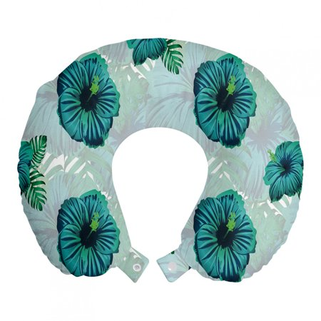 Tropical Travel Pillow Neck Rest, Hawaiian Exotic Jungle Hibiscus Flower, Memory Foam Traveling Accessory Airplane and Car, 12 , Seafoam Teal, by Ambesonne Ambesonne Travel Pillow Neck Rest STANDARD SIZE - 12  Wide x 12  Long. U shape head support. Rest pillow with durable printed cover. MADE FROM - Soft & moldable viscoelastic memory foam. Sturdy and soft 100% polyester fabric cover. FEATURES - Breathable. Removable cover has a zipper closure. Easy to attach with snap fasteners. PORTABLE - Comfortable on a plane, bus, car, train or at home while watching TV, reading a book, napping. PRINTED - With state of the art digital printing technology. Long-lasting bold colors & clear image. Feel like at home even on the go! Feel the comfort and softness with this smart design memory foam travel pillow. Choose between thousands of different patterns for a more personalized look. This printed cover is machine washable so; you can have a fresh and clean pillow every journey. It can be quickly taken off and put on with zipper closure. Its comfortable and breathable. Use it in the car, plane, train or bus. Itll be your best traveling partner. With its snap fasteners, you can easily attach it to your luggage or backpack without taking much space. Besides traveling you can use it at home or office. Even a simple nap will be better with this relaxing head support. Dont miss the style while seeking for comfort. This pillow will give you both, surely. Catch the comfortable travel and lounging experiences with this versatile travel gear. The digital images we display have the most accurate color possible but due to differences in pc monitors, we cant be responsible for variations in color between the actual product and your screen.
