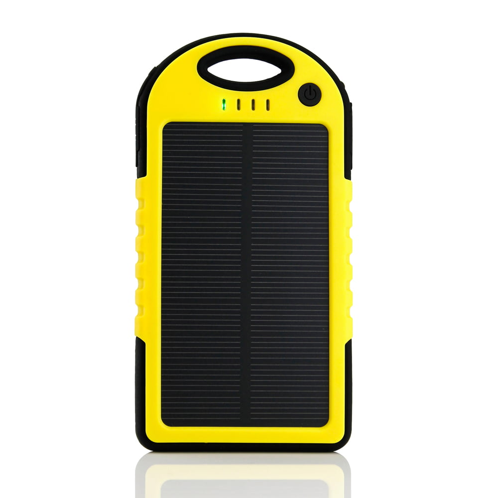separation shoes 5cfec 86afe 5000mAh Portable Shockproof Waterproof Solar Charger Battery Panal Double  USB Power Bank for Cell Phone MP3- Yellow