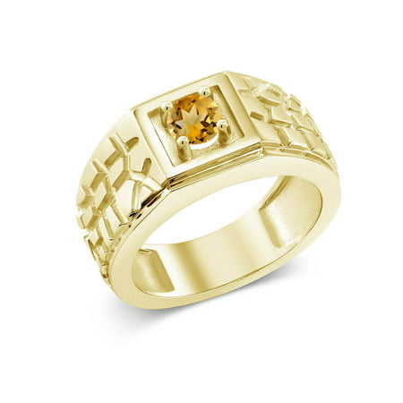 0.45 Ct Yellow VS Citrine 18K Yellow Gold Plated Silver Men's Solitaire (18k Gold Gents Ring)