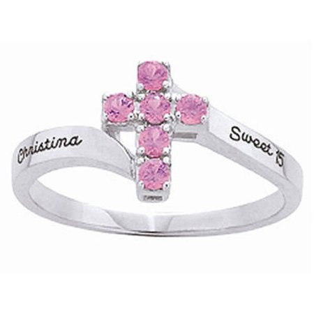 Personalized Family Jewelry Devotion Cross Ring available in Sterling Silver, Yellow and White Gold (Cross Cross Gold Ring)