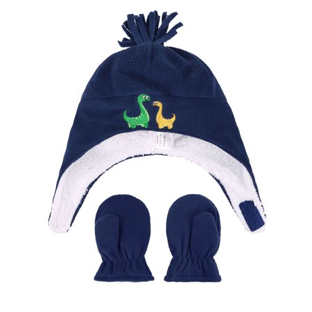 Kids Boys Sherps Lined Embroidered Fleece Hat Mitten Set