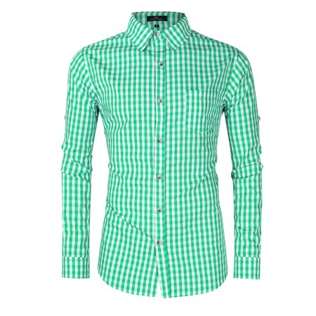 Men's Oktoberfest Costumes Long Sleeve Shirt Fashion Plaid Front Pocket Classical Shirt Tops Color:Green Size:S - image 6 of 8