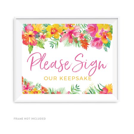 Tropical Floral Garden Party Wedding Party Signs, Please Sign our Keepsake Table Sign, 8.5x11-inch (Tropical Floral)