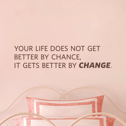 Wallums Wall Decor Your LIfe Does Not Get Better by Chance Quote Wall Decal