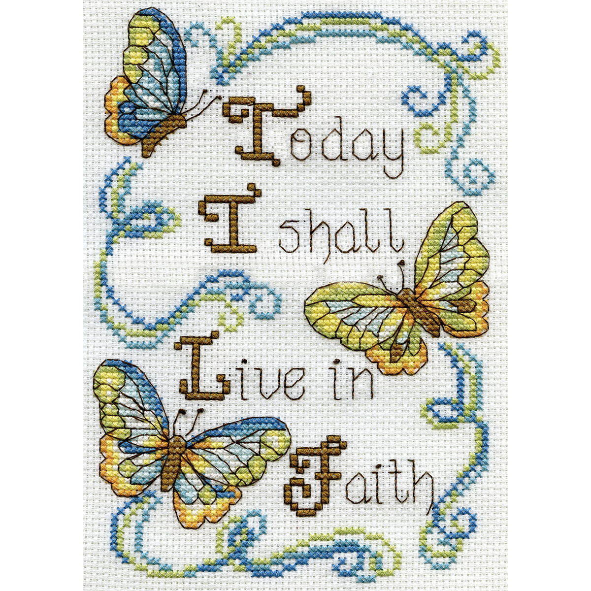 Live In Faith Mini Counted Cross Stitch Kit-5 Inch X 7 Inch 14 Cou