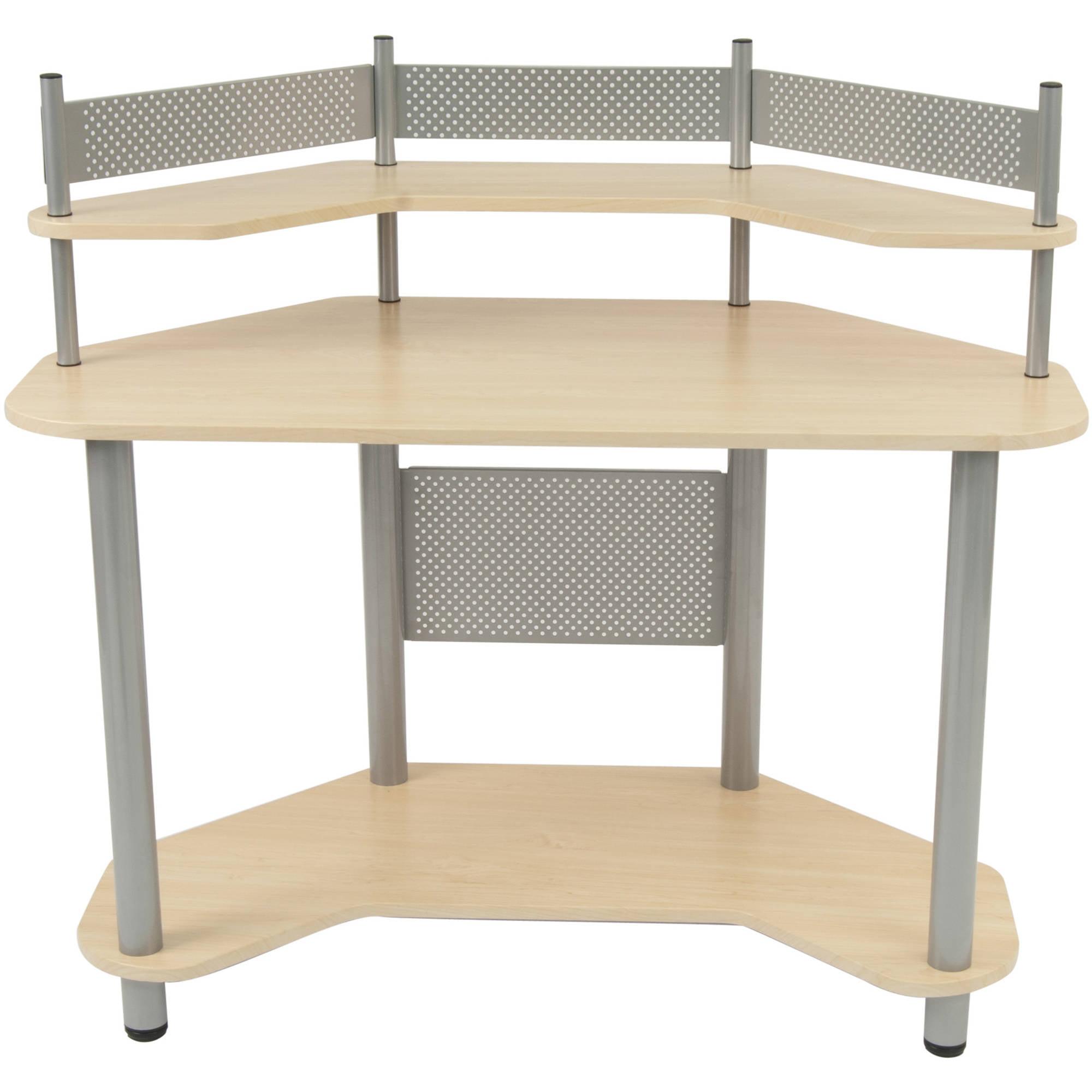 Calico Designs Study Corner Computer Desk Silver Black