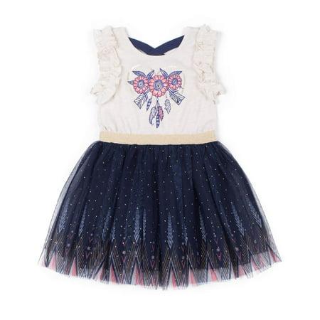 Ruffle Dress For Toddlers (Short Sleeve Ruffle Trim Printed Tulle Skirt Dress (Baby Girls & Toddler)