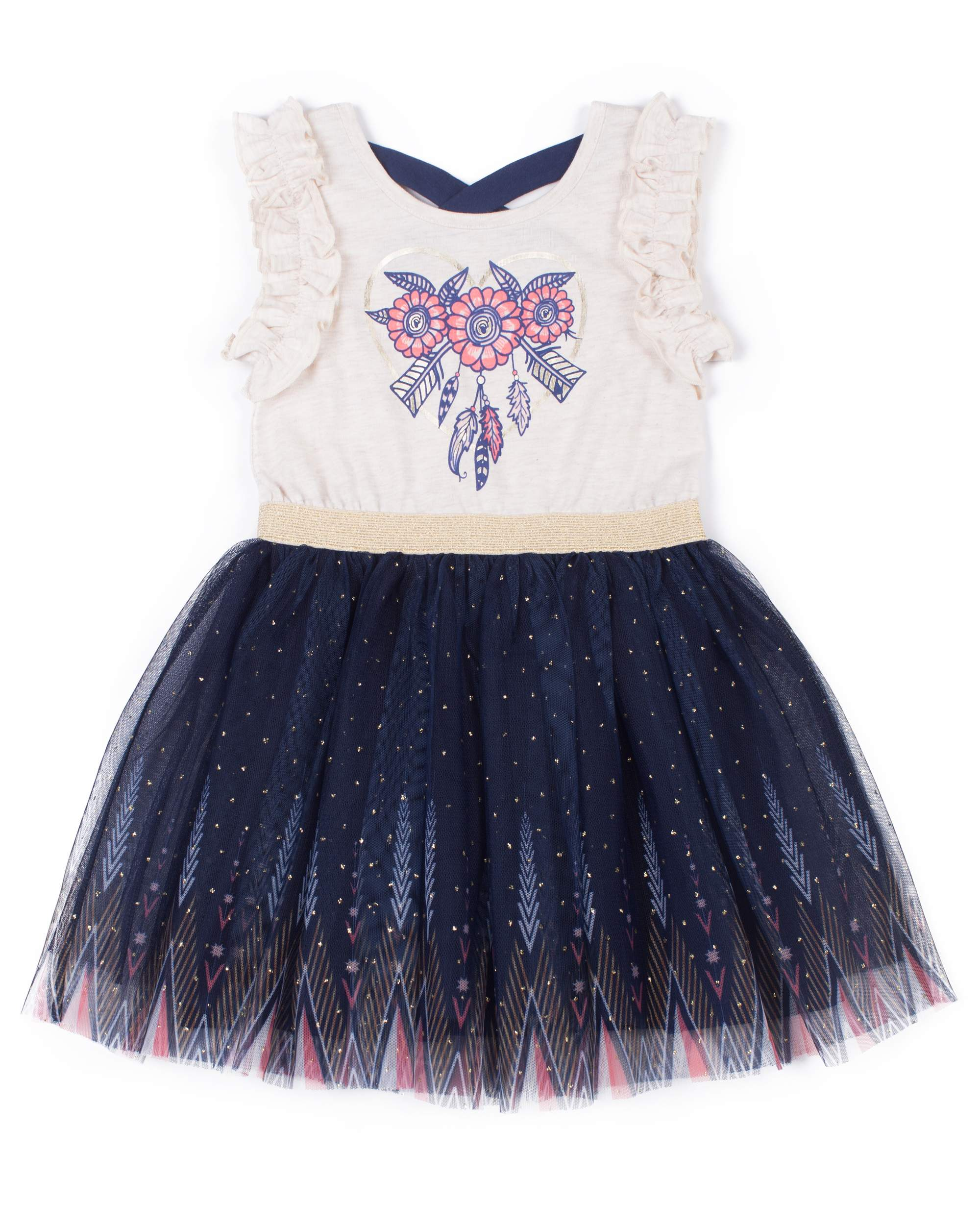 Short Sleeve Ruffle Trim Printed Tulle Skirt Dress (Baby Girls & Toddler Girls)