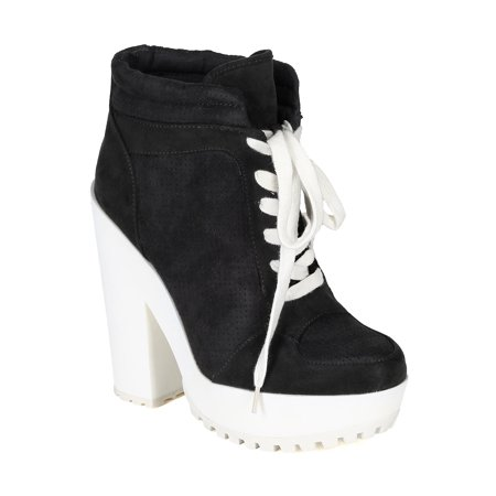Qupid CB98 Women Suede Perforated Lace Up Lug Sole Chunky Heel Platform Sneaker (Chunky Lace Up Platforms)