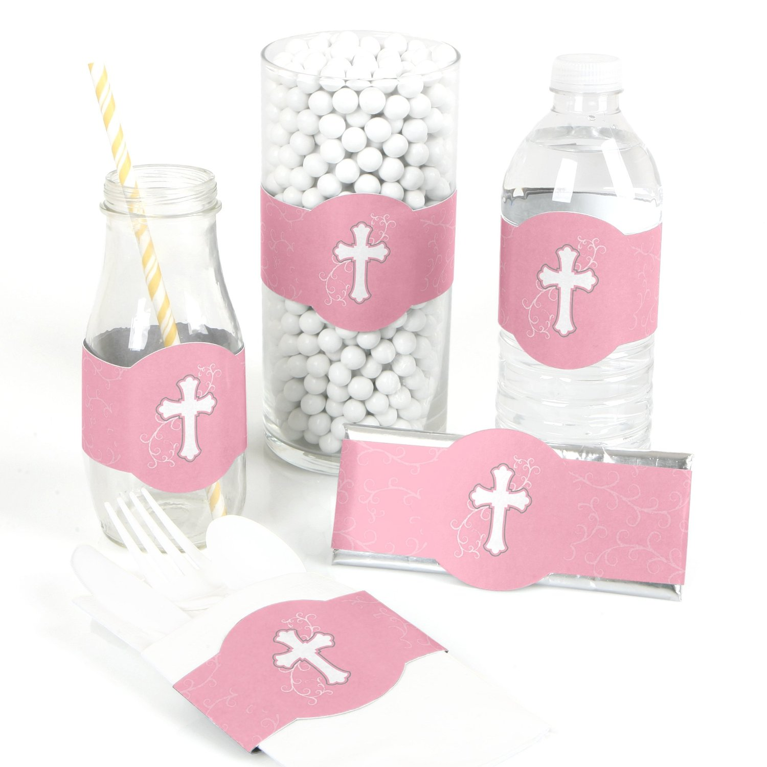 Little Miracle Girl Pink & Gray Cross - Baptism DIY Party Wrapper Favors - Set of 15
