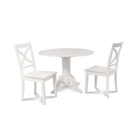 M&D Furniture BURL3-WHI-W Burlington 3 Piece small kitchen table set-kitchen table and 2 dining chairs in White finish ()