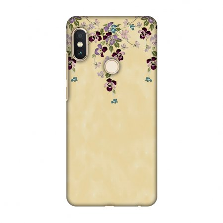 Yellow Butterfly Snap (Xiaomi Redmi Note 5 Pro Case - Butterfly poppy- Violet and pale yellow, Hard Plastic Back Cover, Slim Profile Cute Printed Designer Snap on Case with Screen Cleaning Kit )