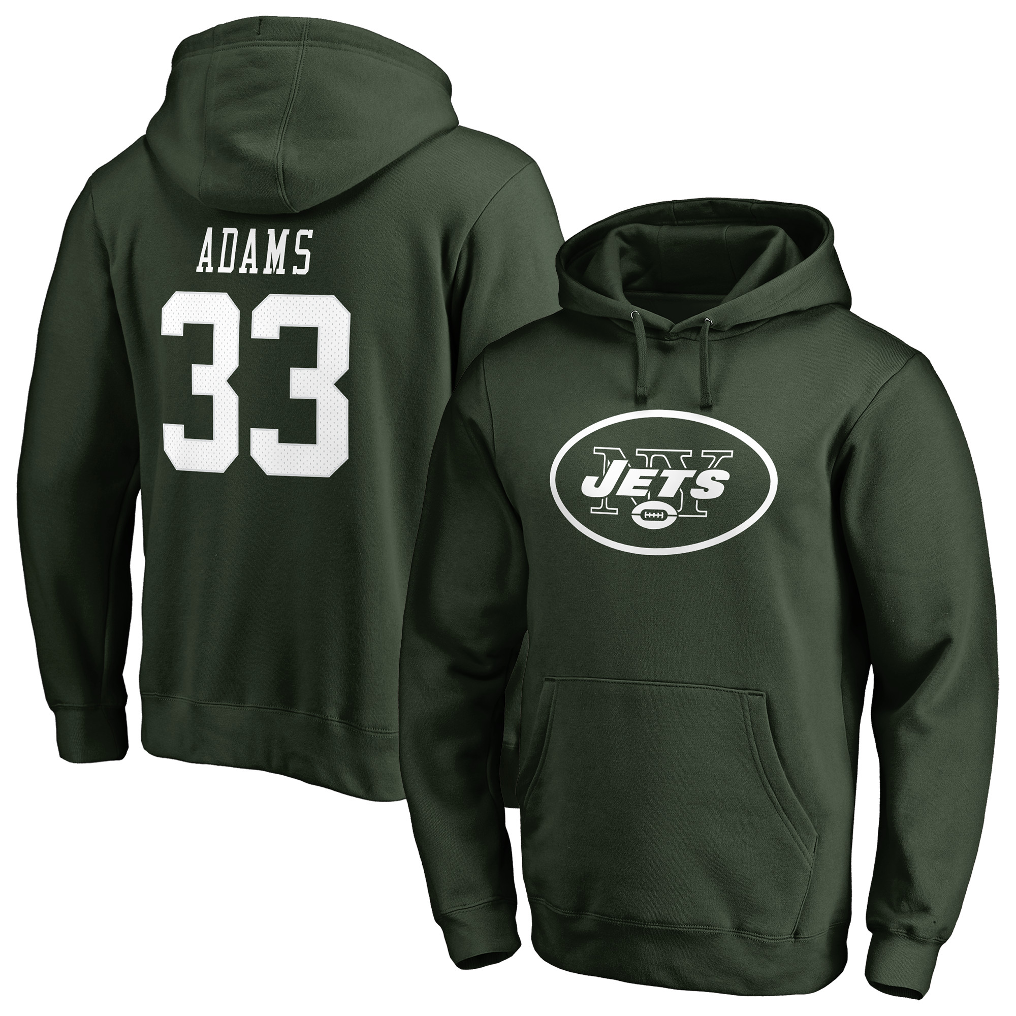 Jamal Adams New York Jets NFL Pro Line by Fanatics Branded Player Icon Name & Number Pullover Hoodie - Green