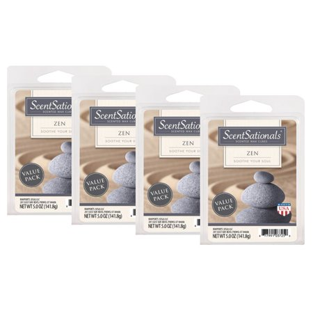 - ScentSationals 2.5 oz Zen Scented Wax Melts, 4-Pack