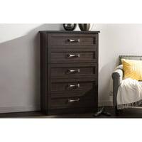 Baxton Studio Colburn Modern and Contemporary 5-Drawer Wood Tallboy Storage Chest, Dark Brown Finish