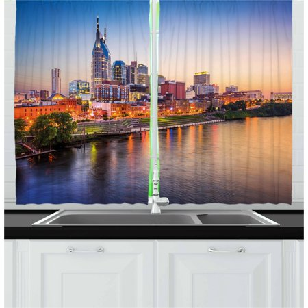 - United States Curtains 2 Panels Set, Cumberland River Nashville Tennessee Evening Architecture Travel Destination, Window Drapes for Living Room Bedroom, 55W X 39L Inches, Multicolor, by Ambesonne