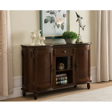 Pilaster Designs Adrian Walnut Wood Contemporary Console Buffet Display Storage Table With 2 Cabinets, Drawer & Shelves