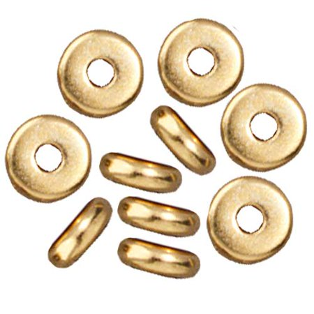 Bright 22K Gold Plated Lead-Free Pewter Disk Heishi Spacer Beads 5mm - Heishe Spacers