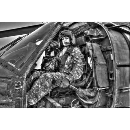 Women Range - High dynamic range image of a woman pilot sitting inside of a UH-60 Black Hawk ready to take off on a mission over Northern Iraq Poster Print