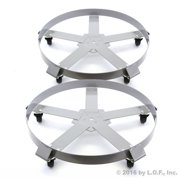 2) Extra Heavy Duty 55 Gallon Drum Dolly Dollies Swivel Casters Steel Frame Non Tip 1250 lbs 5 Wheel by Red Hound Auto
