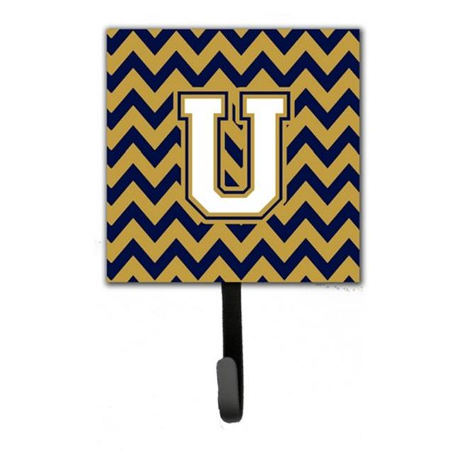 Carolines Treasures CJ1057-USH4 Letter U Chevron Navy Blue & Gold Leash or Key Holder - image 1 de 1