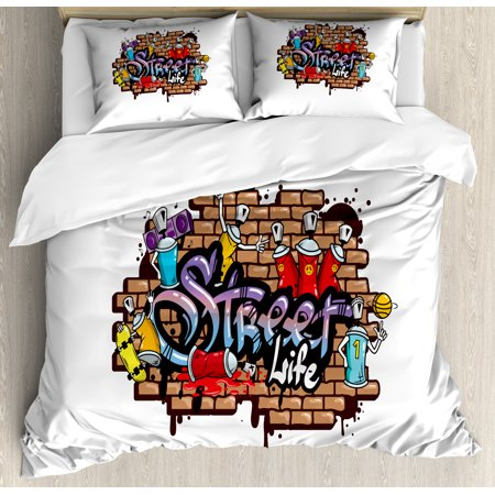 Youth King Size Duvet Cover Set, Urban World Street Life Graffiti Art Spraycan Characters and Drippy Blotchy Letters, Decorative 3 Piece Bedding Set with 2 Pillow Shams, Multicolor, by Ambesonne