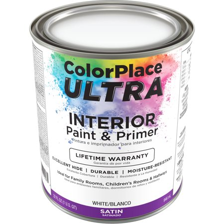 color place ultra satin interior white paint and primer 1 qt