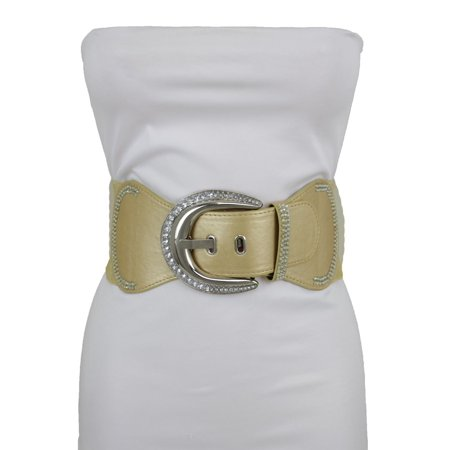 New Fashion Women Gold Stretch Wide Belt Big Silver Metal Bling Buckle Size S (Big Gold Belt)