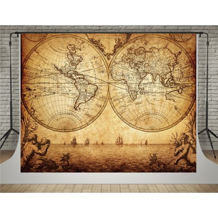GreenDecor Polyester Fabric 5x7ft Vintage Photography Backdrops World Map Sea Photo Background for Photographers - Mlp Background