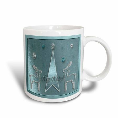 3dRose Reindeer on Blue Happy Holidays, Ceramic Mug, - Ceramic Reindeer