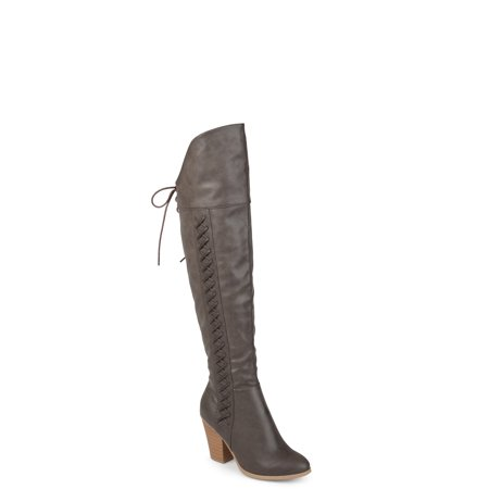 Women's Wide Calf Distressed Faux Leather Faux Lace-up Over-the-knee Boots
