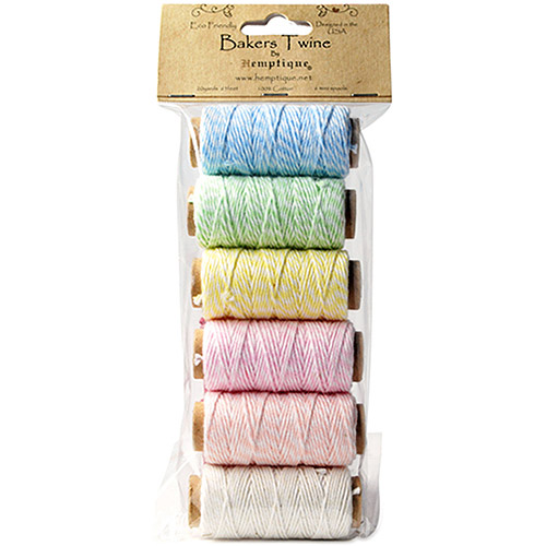 Hemptique Baker's Twine 2 Ply Mini Spool Bag Set, 6/pkg, Creamy Pastel