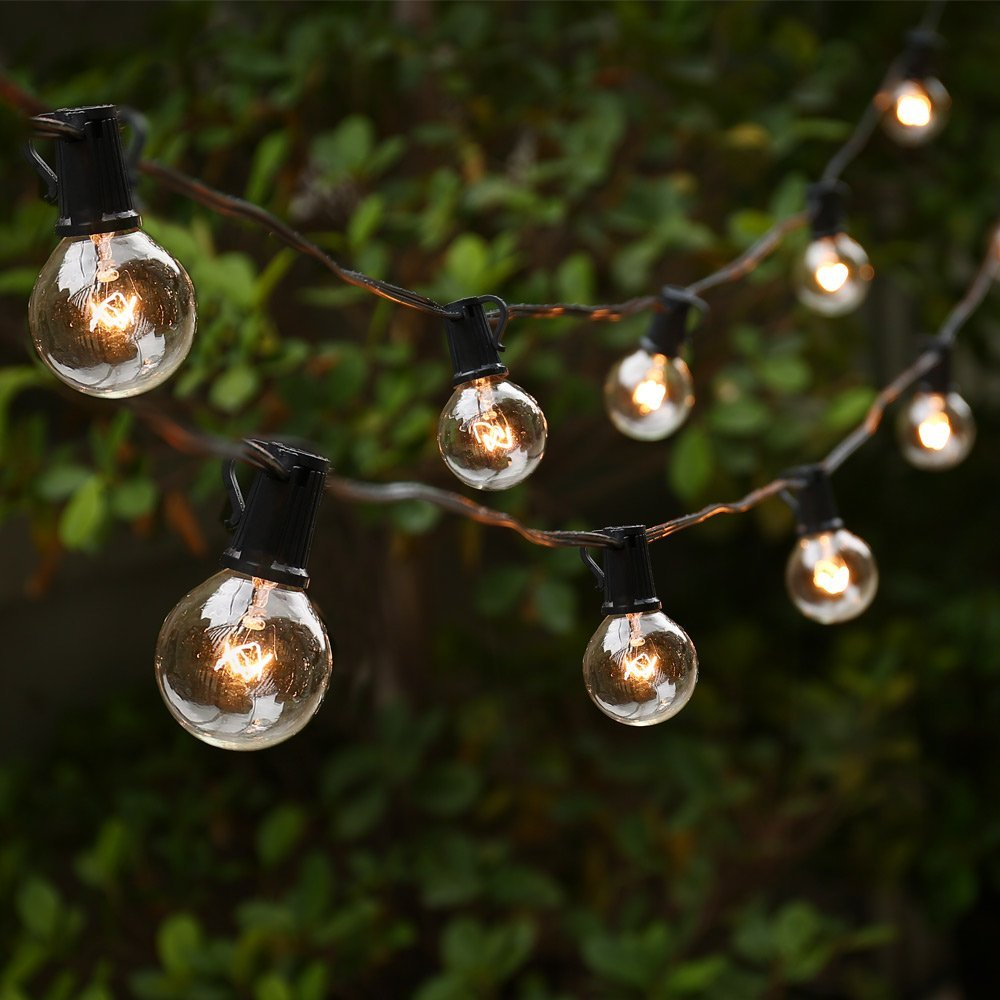 G40 Clear Globe String Lights, 25ft 25 Bulbs Waterproof Indoor Outdoor Decorative String Lighting (Black) by