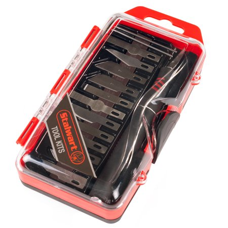 16 Piece Precision Hobby and Craft Knife Blade Set with Handle - Detail Cutting Hand Tool with Interchangeable Blades with Magnetic Case by Stalwart - Hobby Tool Supply