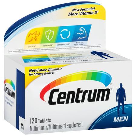 Centrum Men Multivitamin Multimineral Supplement Tablets 120 Count