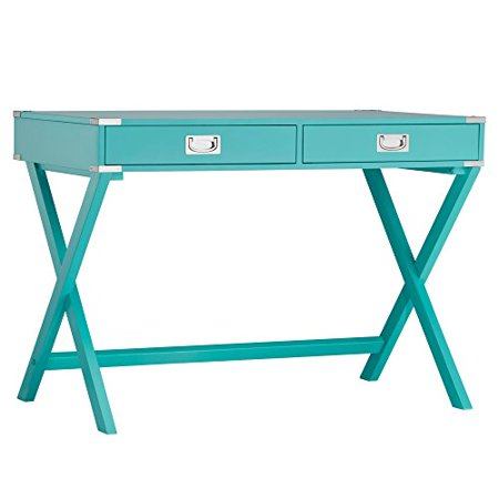 Modern Wood Accent X Base Teal Green Student Computer Writing Office Desk with 2 Drawers