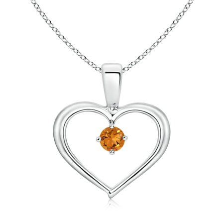 Solitaire Round Citrine Open Heart Pendant in 14K White Gold (3mm Citrine) - SP0165CT-WG-AAA-3 ()
