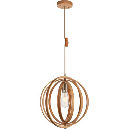 Pendants 1 Light Fixtures With Wood Grain and Burnished Nickel Finish Wood/Iron Material E26 Bulb 15