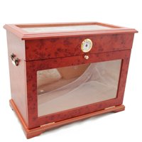 Luxury Countertop Front Display Humidor 400 Cigars Storage Humidifier Hygrometer