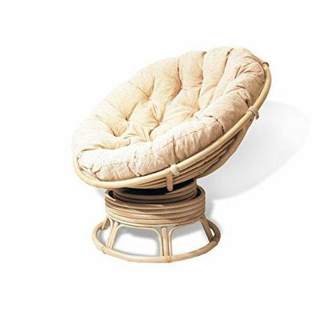 rattan wicker swivel rocking round papasan chair with cushion white