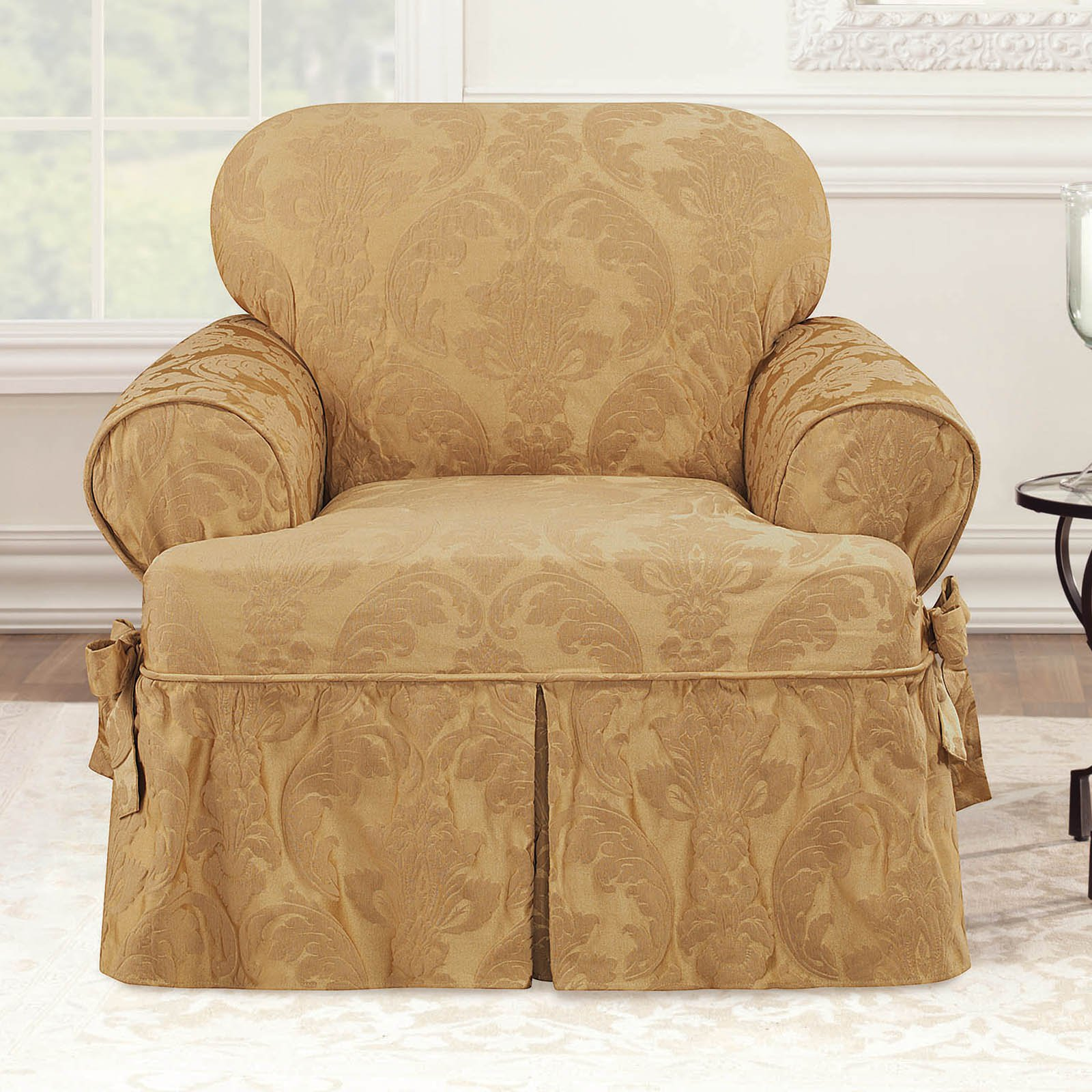 Sure Fit Matelasse Damask T-Cushion Chair Slipcover