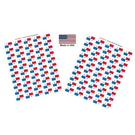 """Made in USA! 100 Country Flag 1.5"""" x 1"""" Self Adhesive World Flag Scrapbook Stickers, Two Sheets of 50, 100 International Sticker Decal Flags Total (Panama)"""