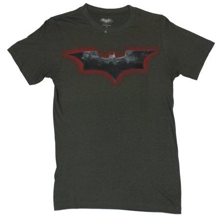 Batman (the Dark Knight Rises) Mens T-Shirt  - Dark Knight Rises Red Black Log