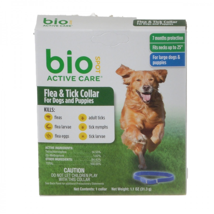 "Bio Spot Active Care Flea & Tick Collar for Dogs Large - 1 Pack - (Necks up to 25"") - Pack of 4"