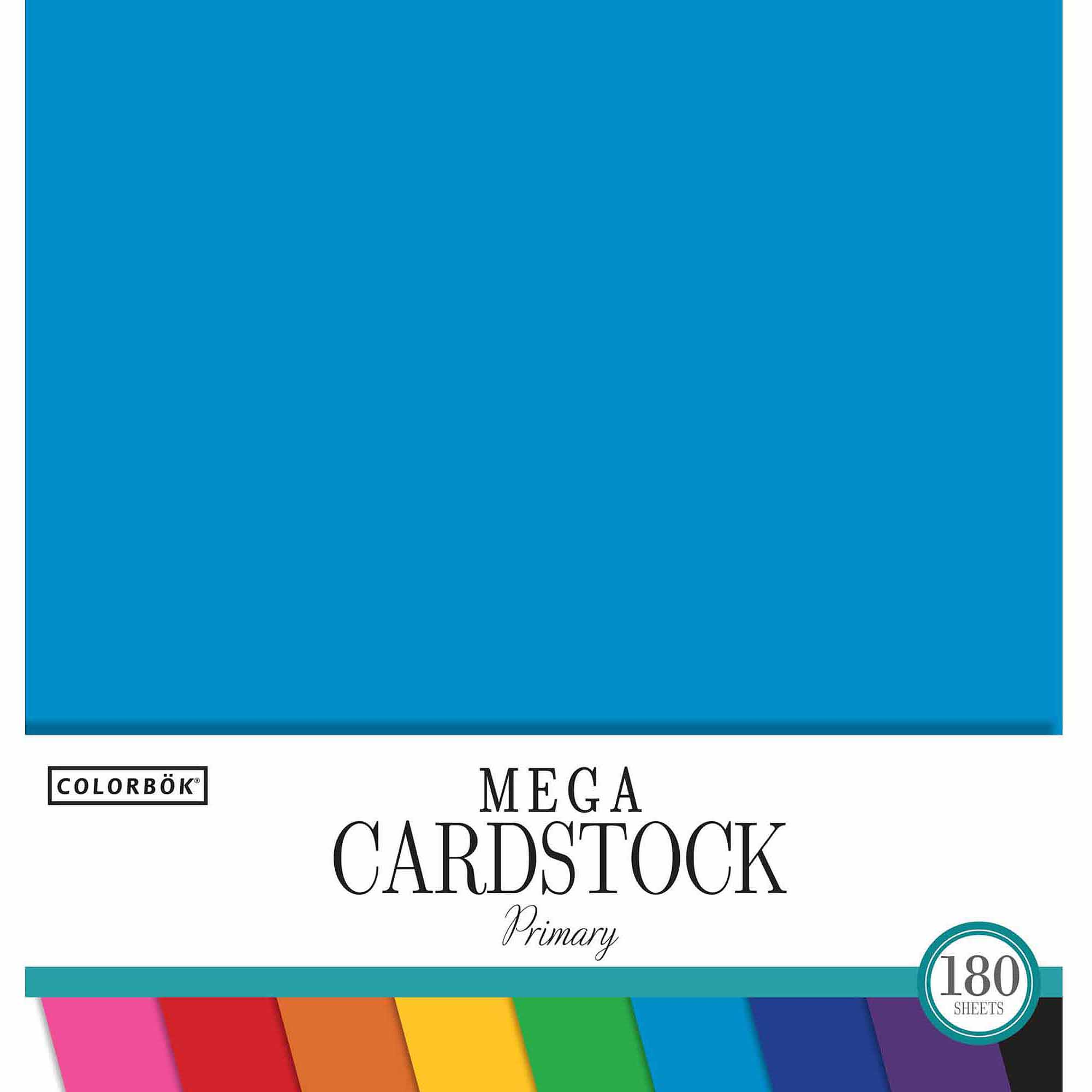 "Colorbok 12"" Smooth Cardstock Primary Pad, 180-Sheets"