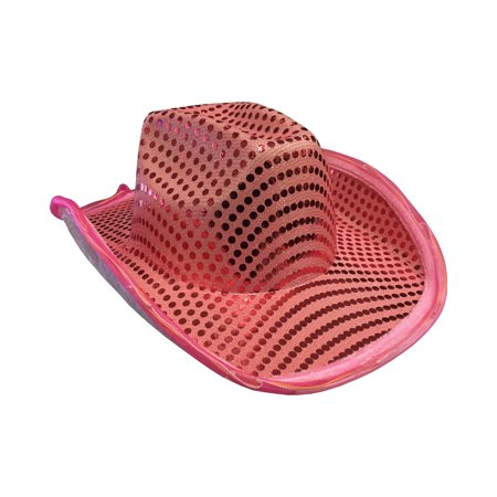 Adults Light Up Sequin Pink Urban Cowboy Hat Costume - Cowboy Outfits For Adults