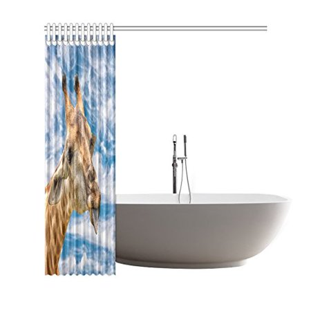 BSDHOME African Wildlife Animal Shower Curtain,Blue Sky Funny Giraffe Polyester Fabric Shower Curtain Bathroom Sets 66x72 Inches - image 2 de 3