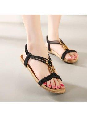 52567f4fdc32 Product Image Women Shoes Summer Beaded Flat Sandals Open Toe Beach Flip  Flops Slipper Sandal Size 9